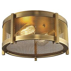 Rialto 2-Light Flush Mount, Brass $299.00