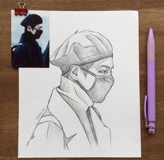 Kpop Drawings, Art Drawings Sketches Simple, Desenhos Gravity Falls, Taehyung Fanart, Kpop Fanart, Art Sketchbook, Easy Art, Drawing Techniques, Ideas