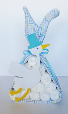 Stork Bundle Baby Shower Gift Baby Boy by LilLoveBugsCreations