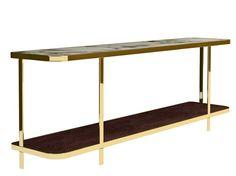 Rectangular metal console table Odilon Collection by Nube Italia   design Marco Corti 240X40X90H cm.