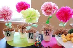 Vaso com Flores de Pom Pom de Papel! - Fazendo a Minha Festa