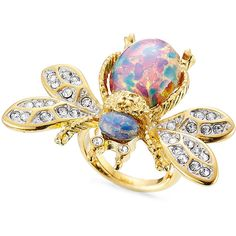 Kenneth Jay Lane Crystal Embellished Bumble Bee Ring (2.996.845 VND) ❤ liked on Polyvore featuring jewelry, rings, multicolor, multi color rings, bee jewelry, honey bee jewelry, colorful rings and multi color jewelry