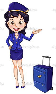 """flight attendant"" cartoon - Tìm với Google"
