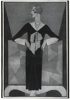 * Schiaparelli's bowknot sweater, Douglas Pollard illustration Vogue December 1927