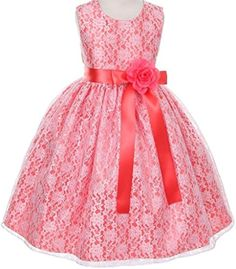 Girls Dress Style 1132 - SALE ALL CORAL size 4 piece available) the sage dress and this dress BOTH come in Lila's size right now if you like them? Girls Coral Dress, Girls Dresses, Summer Dresses, Dress Sash, Lace Dress, Lace Flower Girls, Flower Girl Dresses, Pageant Wear, Little Baby Girl