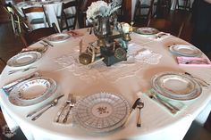 Vintage Wedding Tablescapes with mismatched china from Howell Family Farms Wedding - Blog - RENT MY DUST Vintage Rentals