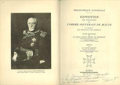 """Title page of """"Exposition de l'Histoire de l'Ordre Souverain de Malte"""" Galeazzo Thun Hohenstein"""
