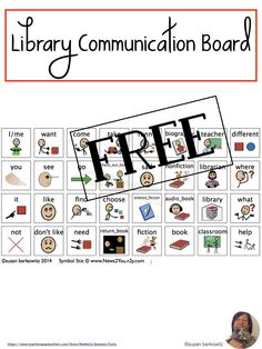 AAC users need to have sufficient vocabulary for communicating in every environment. Give them core words and topic specific vocabulary for library time with this free picture based communication board. Teaching Special Education, Teaching Resources, Teaching Ideas, Communication Development, Communication Boards, Library Pictures, Free Picture, Free Library, My Teacher