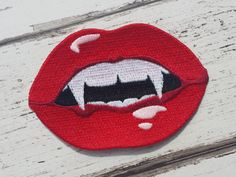 Red Lips & Vampire Teeth Embroidered Patch Applique Very Gothic Emo Punk