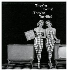 """They're Twins, They're Terrific!"" - vintage ad for a Packard-Bell TV & Stereo, Vintage Advertisements, Vintage Ads, Vintage Images, Vintage Twins, Vintage Music, 50s Glamour, Online Photo Sharing, College Books, Pin Up"