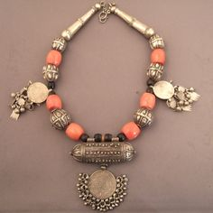 Yemen | Silver, coral, old silver coins, amulet necklace | © Michael Halter.