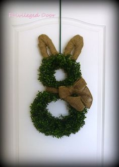 Easter Wreath.  Easter Bunny Wreath.  Boxwood by PrivilegedDoor, $79.00