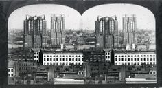January 3, 1870: Construction begins on the Brooklyn Bridge.  East River Bridge Towers under construction, view from Manhattan.  PR 065, Stereograph File.  NYHS image #49920.