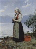 Strikkende pike i Hardanger drakt by Peter NicolaiArbo