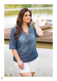 Program - Moda Feminina - Tamanhos Grandes Plus Size Looks, Look Plus, Curvy Plus Size, Plus Size Casual, Curvy Girl Fashion, Plus Size Fashion, Plus Size Dresses, Plus Size Outfits, Plus Size Shorts
