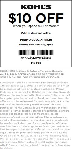 Pinned April 2nd: $10 off $30 at #Kohls or online via promo code APRIL10 #coupon via The #Coupons App