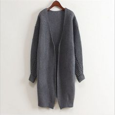 Lana Long Oversized Knitted Cardigan - Dark Grey - White Finch Outfitters - 1