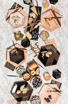 Inset with gold stripes on elegant hexagon make your guests blush while you shine Blush Gold Foil Paper Approx 10 5 Corner to Corner 8 Pack Deco Rose, Gold Foil Paper, Peach Blush, Party Plates, Cake Plates, Plate Design, Dinner Sets, Gold Stripes, West Elm