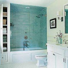 exemple douche faience vert d'eau