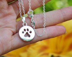 Charm Necklace - .925 Sterling Silver Chain - Paw Print Cut-Out Pendant - Pet Dog Cat Lover Gift