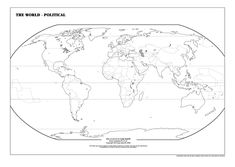 This printable world map labels all of the major bodies of
