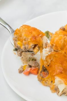 bite of Tater tot Casserole Easy Tater Tot Casserole, Casserole Dishes, Tater Tots, Lemon Recipes, Beef Recipes, Tater Tot Recipes, Air Fryer Oven Recipes, Dinner With Ground Beef, Feel Good Food
