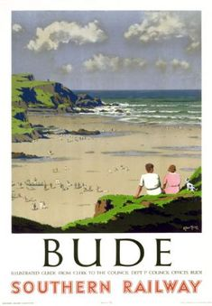 Bude in Cornwall. Artwork by Herbert Alker Tripp who had a long and successful career with New Scotland Yard, painting in his spare time and after his retirement. He designed posters for SR and Great Western Railway (GWR) and was knighted in Posters Uk, Train Posters, Railway Posters, Retro Posters, British Travel, British Seaside, Tourism Poster, Southern Railways, Senior Trip