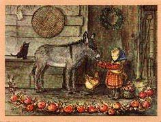 Tasha Tudor Vintage Irene Dash Christmas Card...nothing sweeter than a donkey mini