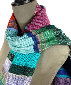 New to pidgepidge on Etsy: Eloise | Woven Women's Fashion | Handwoven Turquoise Magenta & Sapphire Scarf | Heirloom Textile | Striped Loomed Scarf | Gifts for Her