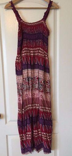 Karin Stevens Boho Style Reds & Purples Full-Length Summer Dress Sz10 #KarinStevens #Maxi #SummerBeach
