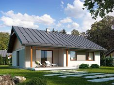 Zdjęcie projektu Niko BSE1079 Metal Roof Houses, House Roof, Facade House, Wooden Houses, Rural House, Small House Design, Home Fashion, Bungalow, Building A House