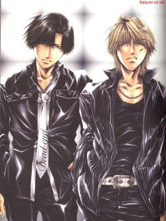 Cho Hakkai and Genjyo Sanzo *Sanzo looks so hot here... like every other picture of Sanzo* - Saiyuki