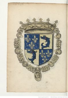 Dauphin de France. Armoiries, pour la plupart coloriées, de la noblesse de France du temps de François Ier. 1535.