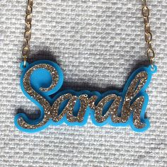 laser cut double layer personalised acrylic//plastic Name necklace funky