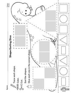 Shape-Sorting Dino, Lesson Plans - The Mailbox Dinosaur Worksheets, Dinosaur Theme Preschool, Dinosaur Activities, Dinosaur Crafts, Shapes Worksheet Kindergarten, Shapes Worksheets, Preschool Worksheets, Preschool Activities, Morning Activities