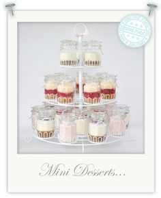Mini desserts - key lime pie, raspberry trifle, strawberry panna cotta, cherry cheesecake