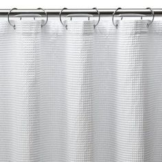 Good option for easy shower curtain for girls' bathroom (I / we can even glue grosgrain ribbon on the curtain to make it a little swankier). I like that it's long, BTW - more dramatic. Shower Curtain X-Long Waffle - White
