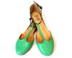 Sandalias de cuero en verdes por QuieroJune en Etsy
