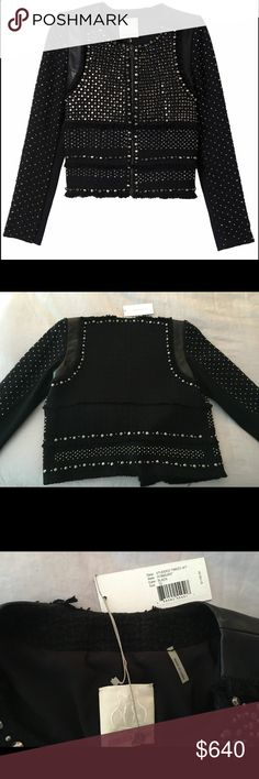 Spotted while shopping on Poshmark: NWT! Rebecca Taylor blk stud leather/tweed jkt-10! #poshmark #fashion #shopping #style #Rebecca Taylor #Jackets & Blazers