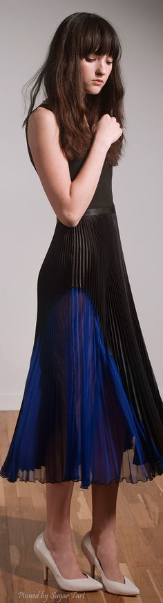 .Timo Weiland Pre-Fall 2015   pleated black and blue dress