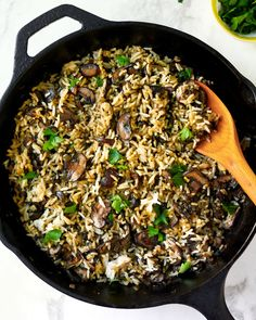 Transform Leftover Rice into Easy, Creamy Mushroom Rice Pilaf (Kitchn Mushroom Rice, Creamy Mushrooms, Stuffed Mushrooms, Mushroom Recipes, Side Dishes For Salmon, Best Side Dishes, Main Dishes, Bagels, Rice Pilaf Recipe