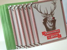 6 Pack Letterpress Christmas in Dixie holiday card by concreteLace, $19.00