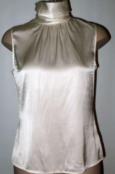 MICHAEL KORS Stretch Silk Sleeveless Top, Mock Neck, 8 - Pearl White #MichaelKors #Blouse #Versatile