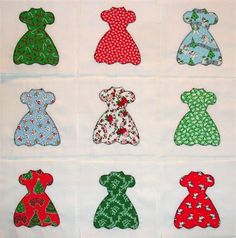 This listing is for a set of 9Christmas Party Dresses appliqued quilt blocks. Each block measures 6 1/2 inches x 6 1/2 inches and is made of bleached muslin backgrounds. The dresses are hand cut from an assortment of quilt shop quality, 1930s reprofabric, fused in place, then machine button hole stitched with traditional black cotton thread.   These blocks are ready to be used with no addition completion necessary. They would make a great starting place for a baby quilt, wall hangin...