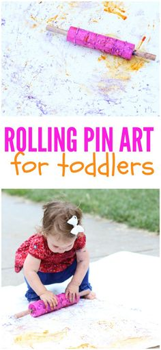 Rolling Pin Art for Toddlers!  What a fun outdoor art activity!