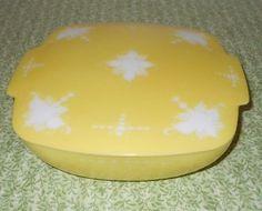 PYREX Hostess Square Bowl Yellow White Lid Etched RARE Promotion Test Piece VTG