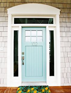 gray exterior // minty blue door // white trim