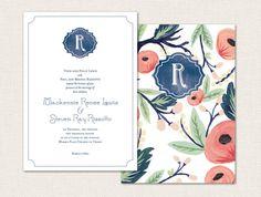 Floral Printable Wedding Invitation Suite by LorellePaperie, $65.00
