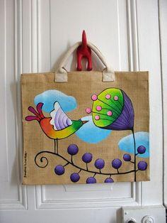 """Képtalálat a következőre: """"crochet painting"""" Painted Canvas Bags, Fabric Paint Designs, Painted Clothes, Jute Bags, Fabric Bags, Fabric Painting, Handmade Bags, Textile Art, Hand Embroidery"""