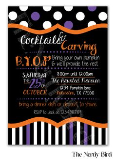Black Orange and Purple Stripes and Polka Dots Cocktails and Carving Design Printable Invitation by TheNerdyBird1 on Etsy https://www.etsy.com/listing/198566656/black-orange-and-purple-stripes-and